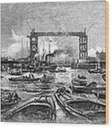 Construction Of Tower Bridge, 1890s Wood Print