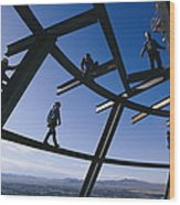 Construction Workers On Beams Wood Print