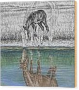 Contemplating Reality - Mare And Foal Horse Print Wood Print