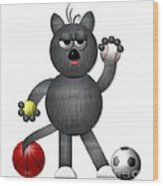 Cool Alley Cat Athlete Wood Print