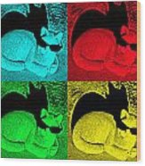 Cool Cat Pop Art Wood Print