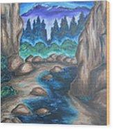 Cool Mountain Water Wood Print