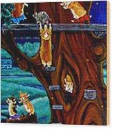 Corgi Secret Hideout Wood Print by Lyn Cook