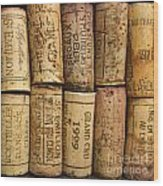 Corks Of Fench Vine Of Bordeaux Wood Print