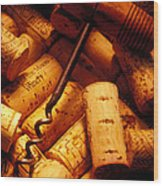 Corkscrew And Wine Corks Wood Print