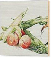 Corn And Peaches Wood Print