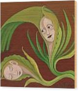 Corn Love Fantastic Realism Faces In Green Corn Leaves Sleeping Or Dead Loving Or Mourning Gree Wood Print