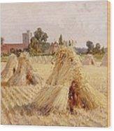 Corn Stooks By Bray Church Wood Print by Heywood Hardy