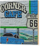 Corner Cafe Wood Print