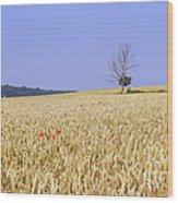 Cornfield With Poppies Wood Print