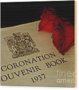 Coronation Book With Roses Wood Print
