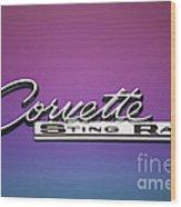 Corvette Sting Ray Emblem Wood Print
