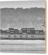 Cosco Cargo Ship Wood Print