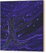 Cosmic Tree Blue Wood Print