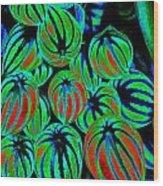 Cosmic Watermelon Leaves Wood Print