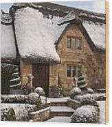 Cotswolds Cottage Covered In Snow Wood Print