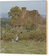Cottage At Broadham Green Surrey In Sunset Light Wood Print