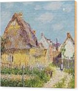 Cottage At Le Vaudreuil Wood Print by Gustave Loiseau