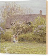 Cottage Freshwater Isle Of Wight Wood Print by Helen Allingham