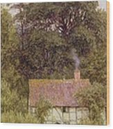 Cottage Near Brook  Wood Print