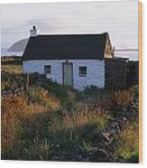 Cottage, Near Dunquin, Dingle Wood Print