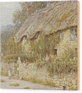 Cottage Near Wells Somerset Wood Print by Helen Allingham