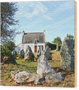Cottage With Standing Stones Wood Print