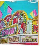 Cotton Candy Carnival Food Vendor Bold Color Wood Print