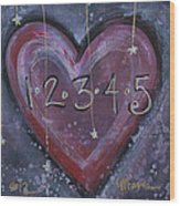 Counting Heart Wood Print