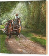 Country - Horse - The Hay Ride  Wood Print