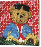 Country Bear Valentine Wood Print