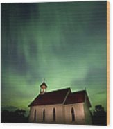 Country Church And Northern Lights Wood Print