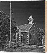 Country Church Monochrome Wood Print