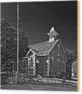Country Church Monochrome Wood Print