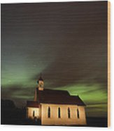 Country Church Night Photography Wood Print