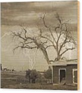 Country Horses Lightning Storm Ne Boulder County Co 76septx Wood Print