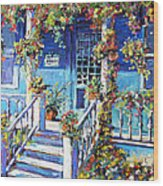 Country Porch And Flowers By Prankearts Wood Print