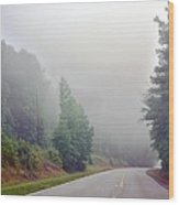 Country Road Fog Wood Print