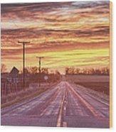 Country Road Sunrise Wood Print