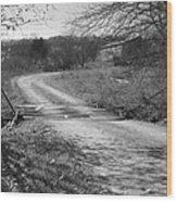 Country Roads Bw Wood Print