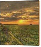 Country Roads Sunset Wood Print