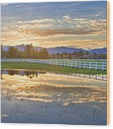 Country Sunset Reflection Wood Print