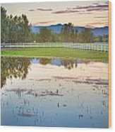 Country Sunset Reflections Wood Print