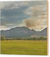 Country View Of The Flagstaff Fire Wood Print