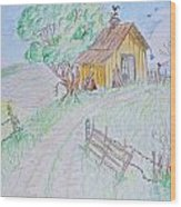 Country Woodshed Wood Print by Debbie Portwood