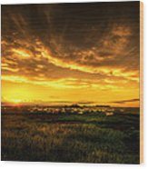 Countryside Sunset Wood Print