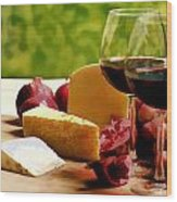 Countryside Wine  Cheese And Fruit Wood Print