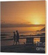 Couple At Beach Wood Print
