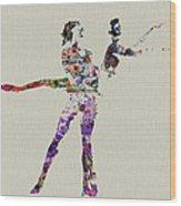 Couple Dancing Wood Print by Naxart Studio