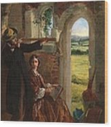 Couple Observing A Landscape Wood Print by English School
